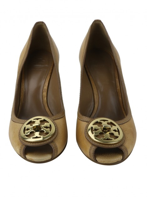 Sapato Tory Burch Sally Couro Bege