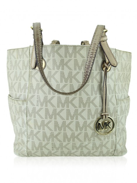 Bolsa Michael Kors Jet Set Canvas Monograma Off-White