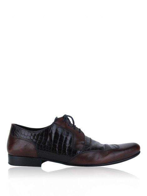 Sapato D&G Couro Embossed Marrom