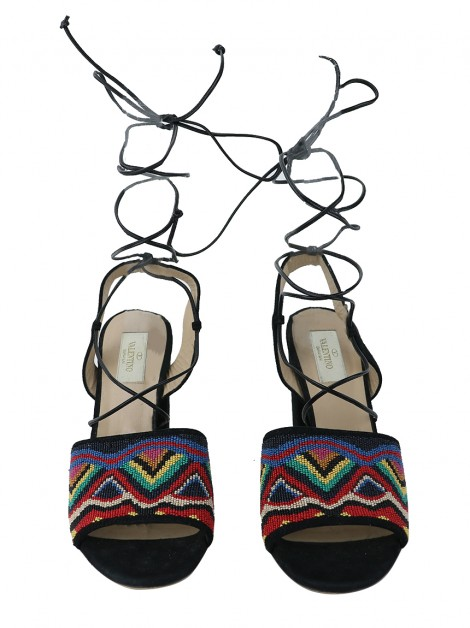 Sandália Valentino Lace-Up Native Beaded