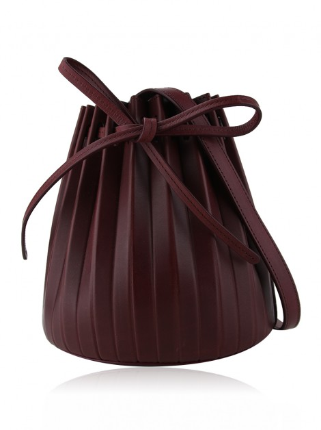 Bolsa Mansur Gavriel Mini Pleated Bucket Bag Bordô