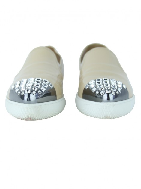 Tênis Miu Miu Slip-On Crystal Bege