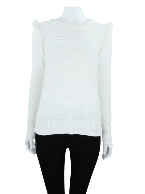 Blusa Banana Republic Babados Tricot Off White