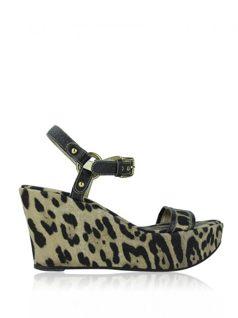 Sandália Dolce & Gabbana Canvas Animal Print