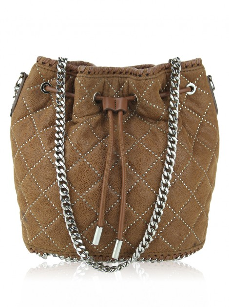 Bolsa Stella Mccartney Shaggy Deer Quilted Studded Bucket
