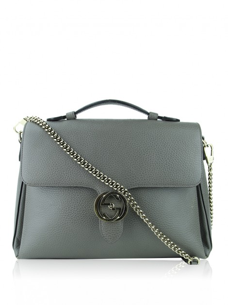 Bolsa Gucci Dollar Interlocking Cinza