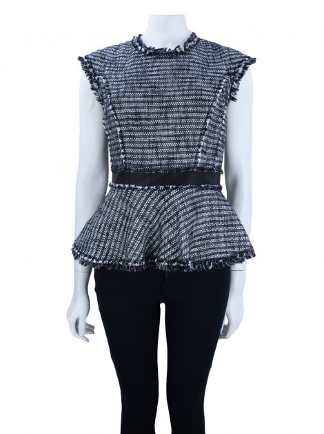Blusa Rebecca Taylor Tweed and Leather Bicolor