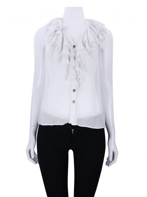 Blusa All Saints Babados Seda Off White