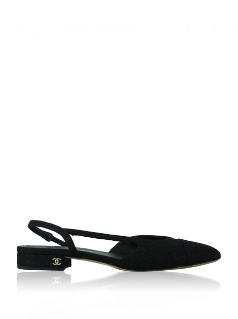 Slipper Chanel Slingback Preto