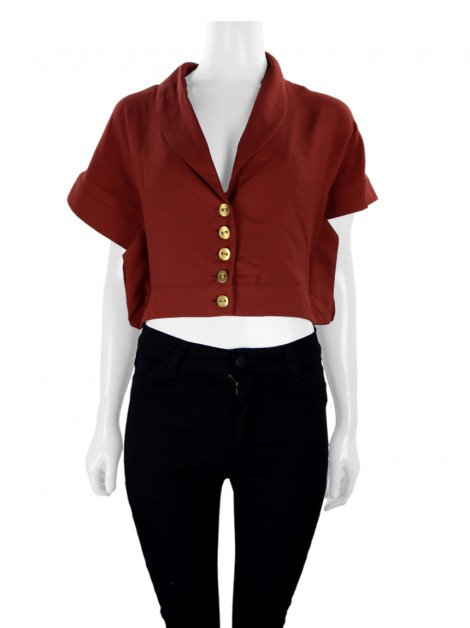 Blusa Lilly Sarti Cropped Crepe Terracota