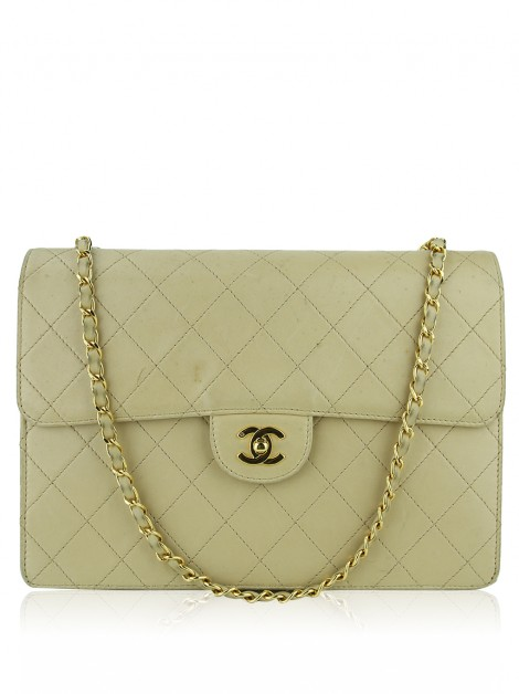Bolsa Chanel Single Flap Jumbo Vintage Bege