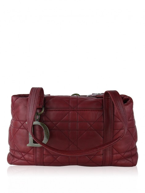 Bolsa Christian Dior Cannage Boston Vermelha