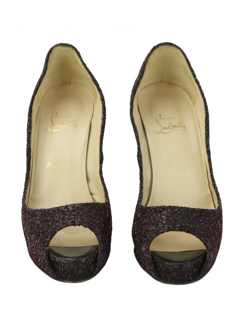 Sapato Christian Louboutin Very Prive Glitter Oxblood