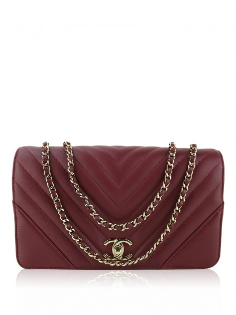 Bolsa Chanel Chevron Statment Flap Burgundy