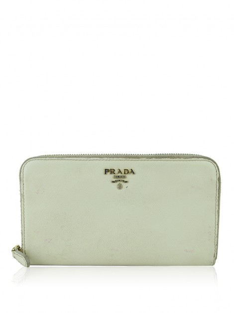 Carteira Prada Zip Around Creme