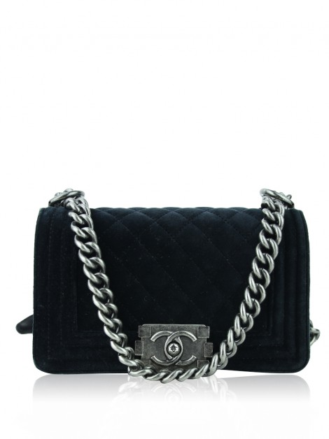 Bolsa Chanel Boy Small Veludo Preto