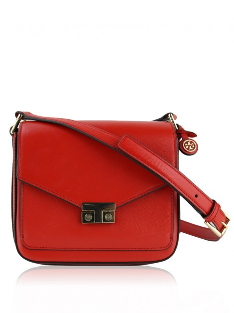 Bolsa Tory Burch T-Lock Mini Flap Masaai Red
