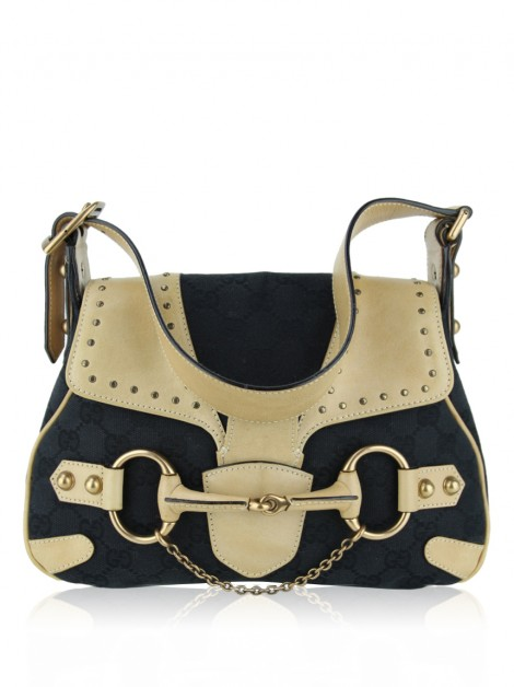Bolsa com Alça Gucci Monogram Small Horsebit Chain