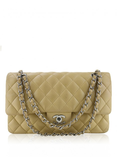 Bolsa Chanel Double Flap Medium Lambskin Bege