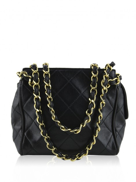 Bolsa Chanel Quilted Couro Vintage Preto