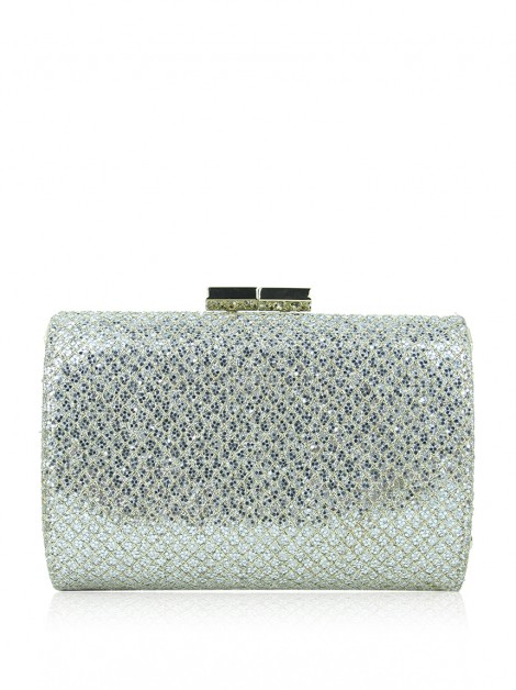 Clutch Jimmy Choo Mini Tube Glitter Prata