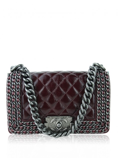 Bolsa Chanel Boy Small Chain Bordô