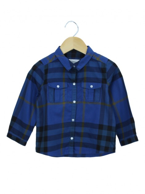 Camisa Burberry Children Xadrez Azul Toddler Infantil