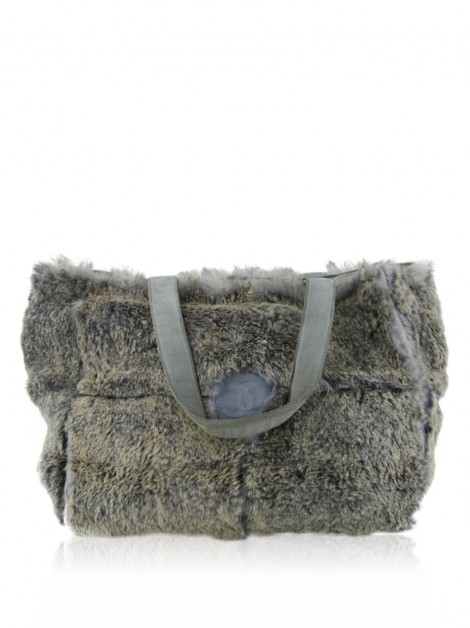 Bolsa Chanel Lapin Rabbit Fur Tote Cinza