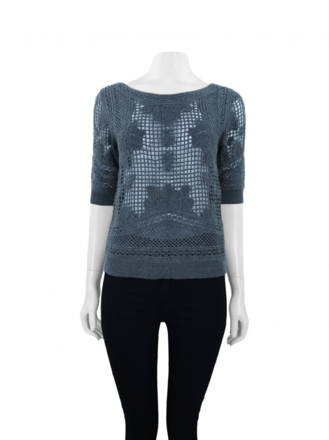 Blusa Anthropologie Knitted & Knotted Lã Cinza
