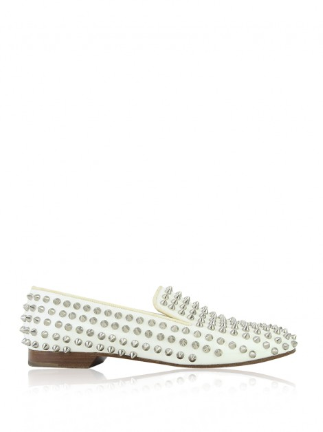 Loafer Christian Louboutin Spikes Couro Branco