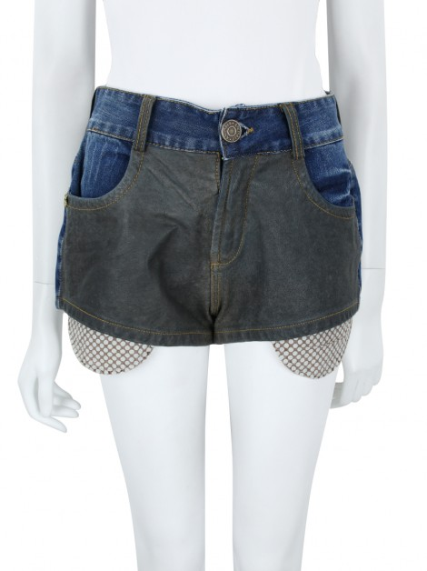 Shorts Animale Jeans e Couro Mini