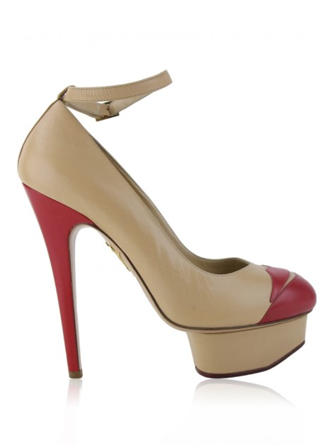 Sapato Charlotte Olympia Kiss Me Dolores Couro Bege