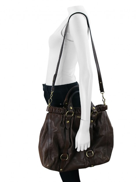 Bolsa Miu Miu Gathered Shopper Tote Marrom