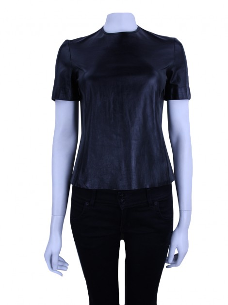 Blusa Ralph Lauren Collection Couro Preto