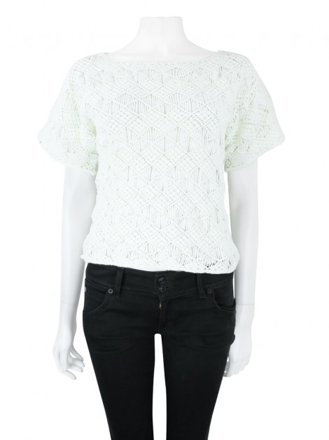 Blusa Ralph Lauren Black Label Crochet Off White