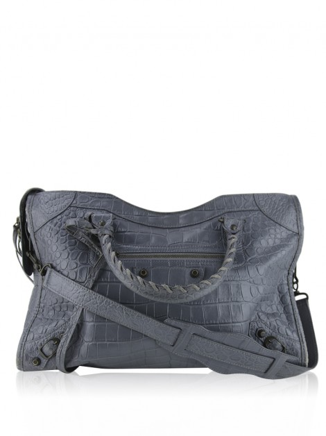 Bolsa Balenciaga Crocodile Embossed Classic City