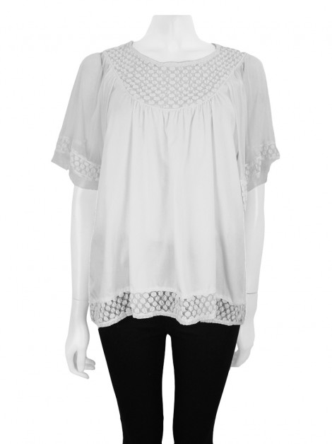 Blusa Mixed Renda Branca