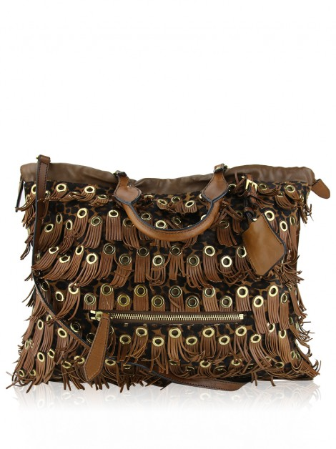 Bolsa Burberry Eyelet Fringe Big Crush Tote Marrom e Animal Print