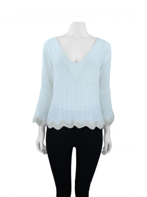 Blusa Andrea Bogosian BlackGold Boucle Off White