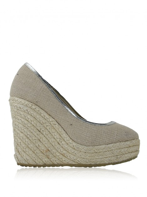 Plataforma Jimmy Choo Canvas Bege