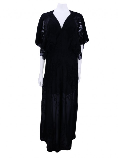 Vestido Animale Black Longo Renda Preto