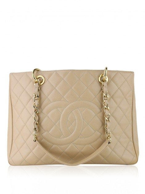 Bolsa Chanel Caviar Grand Shopping Tote GST Bege