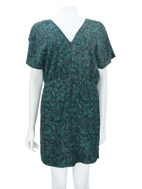 Vestido Animale Seda Estampa Verde