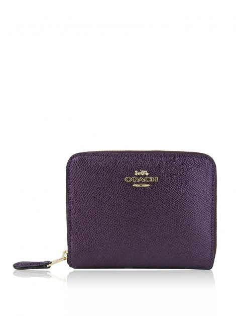 Carteira Coach Metallic Zip Around Roxo