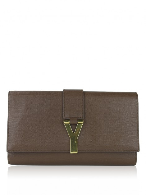 Clutch Yves Saint Laurent Y Ligne Marrom