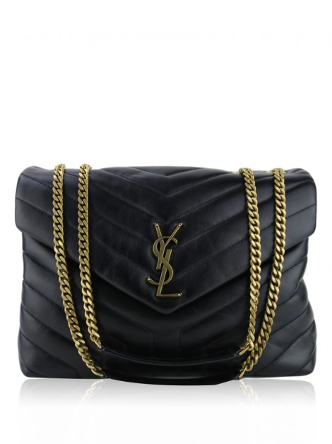 Bolsa Yves Saint Laurent LouLou Y Quilted Medium Preta