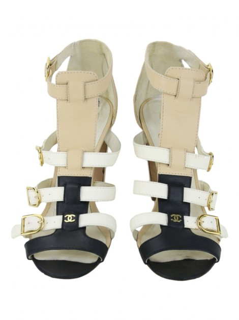 Sandália Chanel Gladiator Tricolor