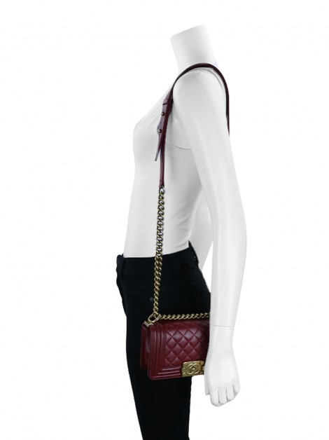 Bolsa Chanel Boy Small Lambskin Bordô