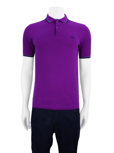 Blusa Fred Perry Polo Slim Fit Roxo Masculino