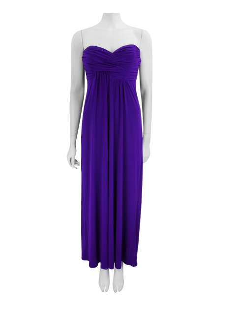 Vestido Laundry By Shelli Segal Drapeado Longo Roxo